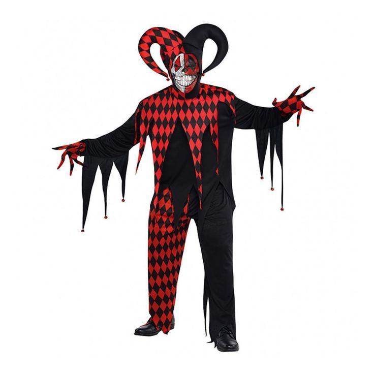 fancydressvip - Mens Red and Black Jester Clown Halloween Fancy Dress Costume, £23.99 (http://www.fancydressvip.com/halloween/mens-red-and-black-jester-clown-halloween-fancy-dress-costume/)
