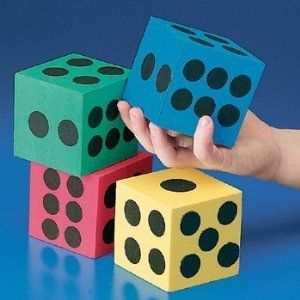 """Foam Jumbo Playing Dice (12) by Fun Express. $7.98. Foam Jumbo Playing Dice. Made by Fun Express. 12 per package. Assorted colors. Each dice measures 2 1/2"""". Enjoy these Foam Jumbo Playing Dice. Use them for playing and or novelty purposes. Each dice measures 2 1/2"""". 12 dice per package. Made by Fun Express."""