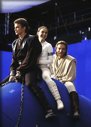 Hayden, Natalie, and Ewan on the set of Star Wars episode 2.