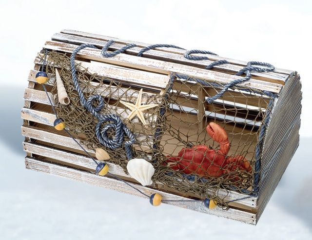 NauticalDecorStore - Medium Decorative Crab Trap, $47.00 (http://www.nauticaldecorstore.com/traps-crab-lobster/medium-decorative-crab-trap/?gclid=CP6n39r-pcoCFYEfHwodN7MJTA/)