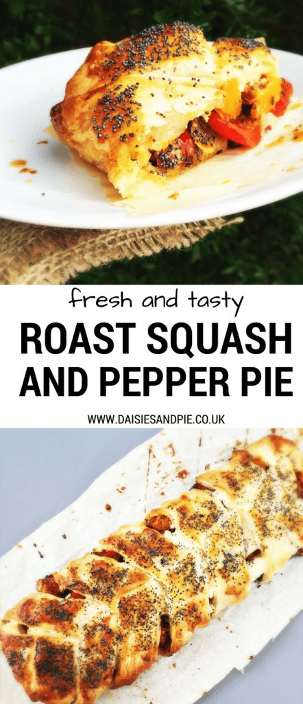 Fresh and tasty roast butternut squash and red pepper pie, delicious easy homemade pie recipe perfect for late summer early autumn family dinner