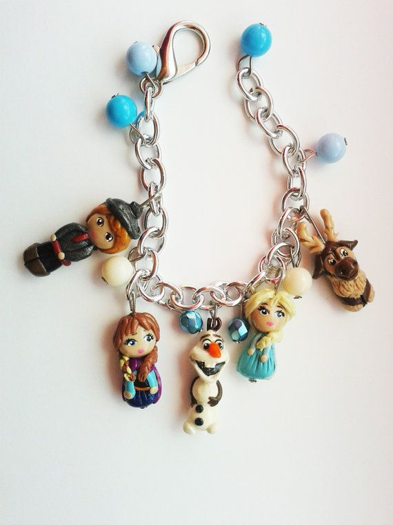 frozen charm bracelet with elsa anna sven olaf and by crystalnruby, $15.00