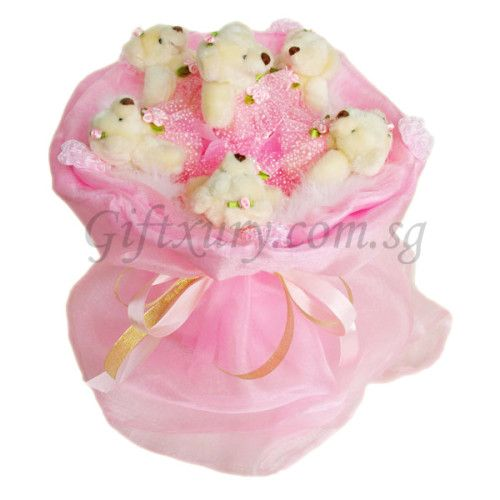 6 Teddy Bears Pink Bouquet http://www.giftxury.com.sg/product/6-teddy-bears-pink-bouquet/