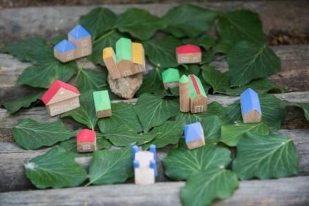 Wooden miniature houses  Set of 11pcs 3D houses  by beigebois