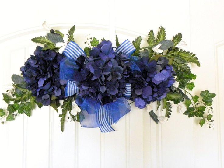 Silk Floral By Tlg Creations Hydrangea Swag Navy Blue