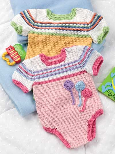 Baby One-Piece Rompers Crochet Pattern Download from e-PatternsCentral.com -- Dress your little boy or girl in these cute and colorful little rompers that are cool and comfortable.