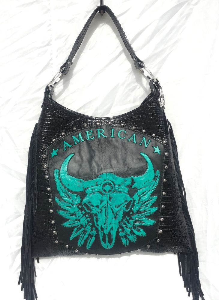 Raviani Western Black Turquoise Leather Handbag Fringe Purse Texas Longhorn Cow Tuff Pinterest Purses Handbags And