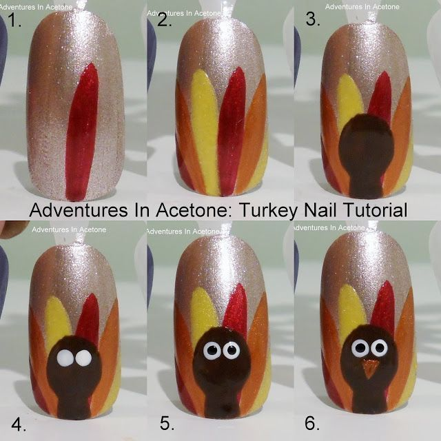 DIY Thanksgiving Nail Art nails thanksgiving nail art turkey nail tutorials thanksgiving nails thanksgiving nail art