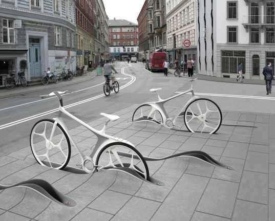 Great idea for bike racks. Would need some drainage though.
