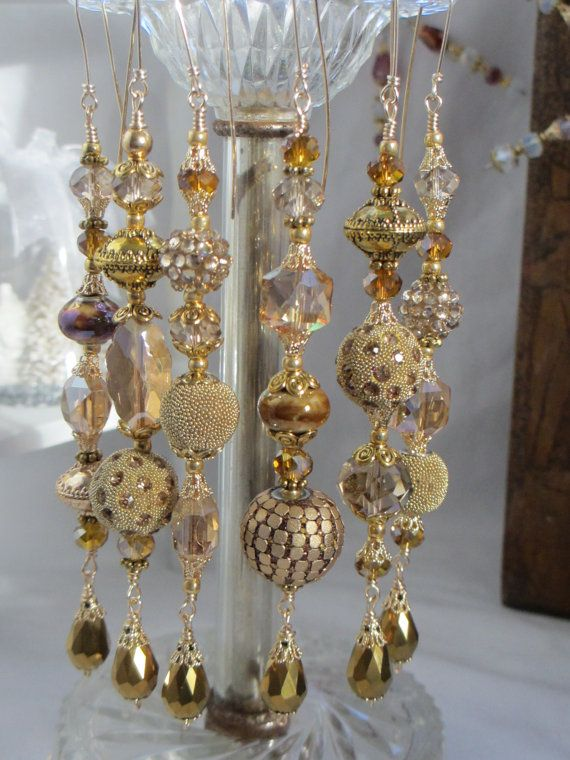 Gold Kashmiri Christmas Ornament Set by LaReineDesCharmes on Etsy, $36.00