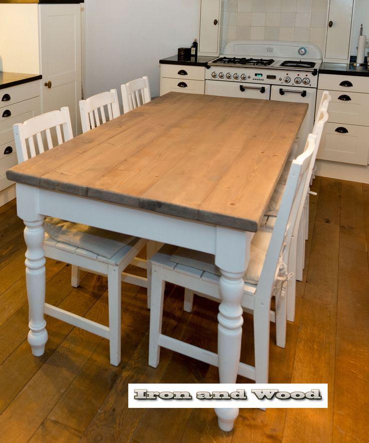 63 beste afbeeldingen over landelijke brocante tafels eettafels op pinterest modellen - Model bibliotheek houten ...