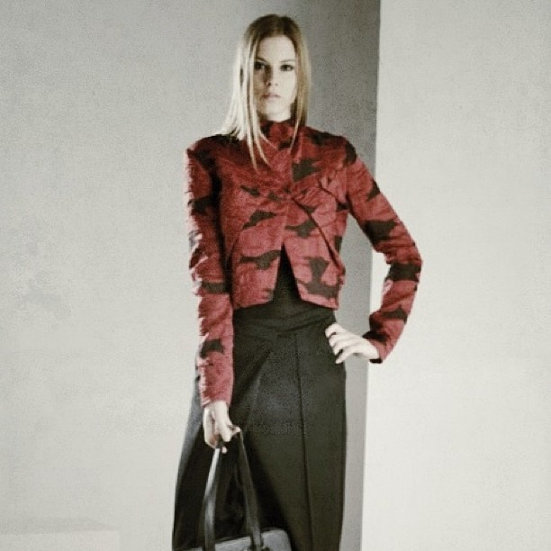 Photo by _malloni#malloni #collection fw 13/14 #lookbook #look #fashion #style #jacket #leather #backstage
