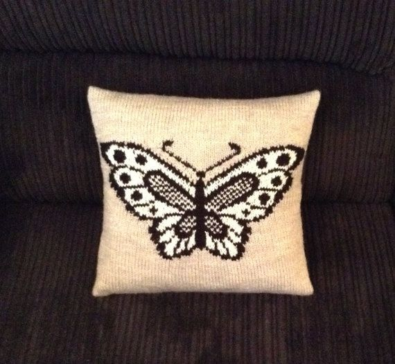 Butterfly Cushion / Hand knitted Cushion with Butterfly Motif