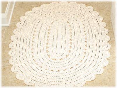 Oval Crocheted Doily Rug