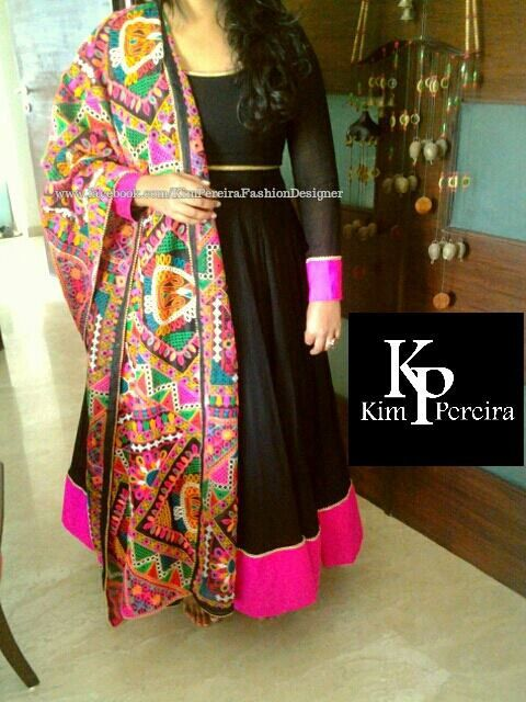 Black Anarkali Dress with Colourful Embroidered by KimPereiraF, $295.00