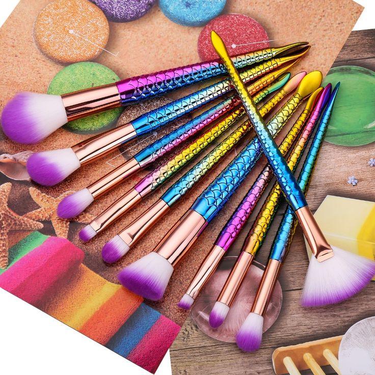 10pcs/set Mermaid Mythical Makeup brushes Beauty Cosmetics Powder Foundation Blending Blush Eyebrow Make up Brush tool Kit Set