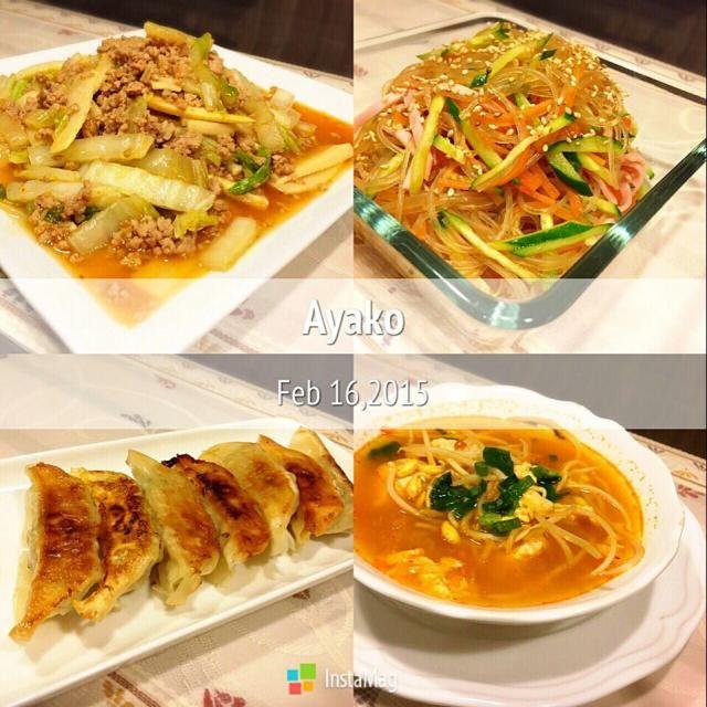 今日は、中華料理です(*^^*) 辛いものは苦手だけど、キムチスープは大好き♡ 身体がポカポカლ(´ڡ`ლ) - 151件のもぐもぐ - 麻婆白菜、春雨サラダ、餃子、キムチの中華スープ by ayako1015