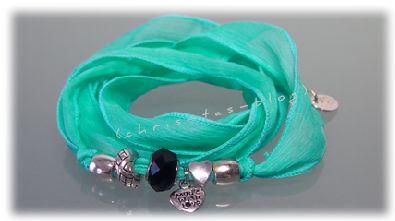 Seiden-Armband in  türkis