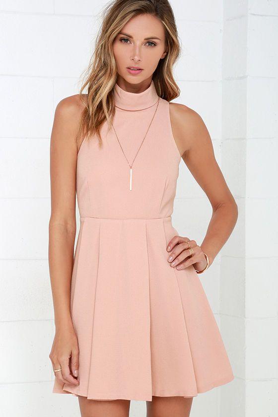 Back For More Blush Skater Dress at Lulus.com!