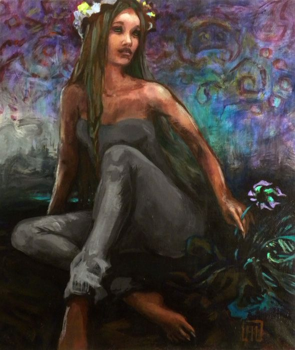 nymph - summer solstice nocturne painting