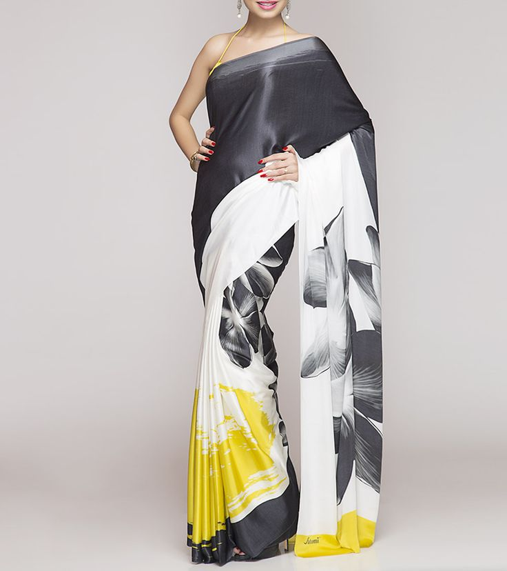 White Digitally Printed Silk Crepe Saree by Satomi