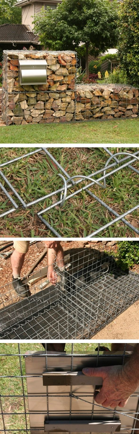 How to build a gabion wall with letterbox