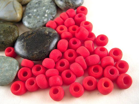 55 Antique Venetian, MUTED Red, 7mm, Glass Beads, Red Matte Beads, Retro Red Pony Beads, Red Crow, 1800's, Murano, 0.8 Ounces CV03