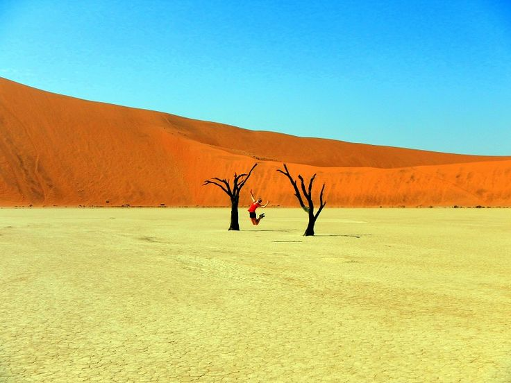 Sossusvlei is a salt pan surrounded by high ORANGE dunes, of the Namib Desert. Oldest dunes in the world. #Namibia #Africa