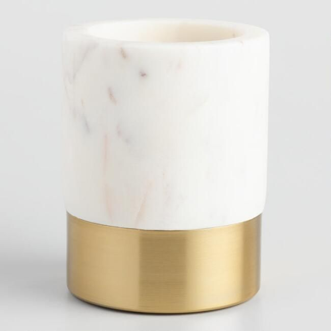 Marble and Gold Metal Maxwell Pencil Cup | World Market