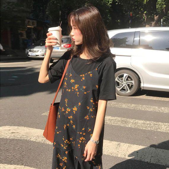 여름 여성 새로운 도착 야생 기질 작은 꽃 쉬폰 드레스 스커트 긴 섹션 학생 드레스 + 짧은 소매 티셔츠