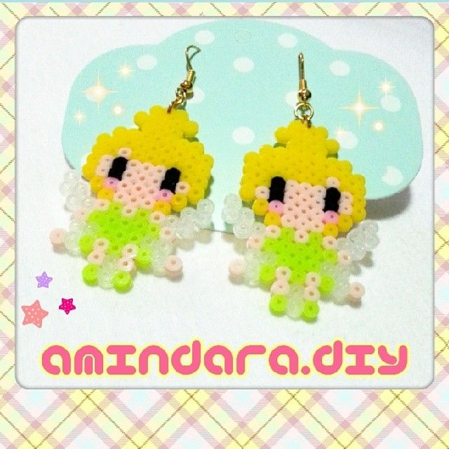 Tinker Bell earrings hama beads by amindara_diy