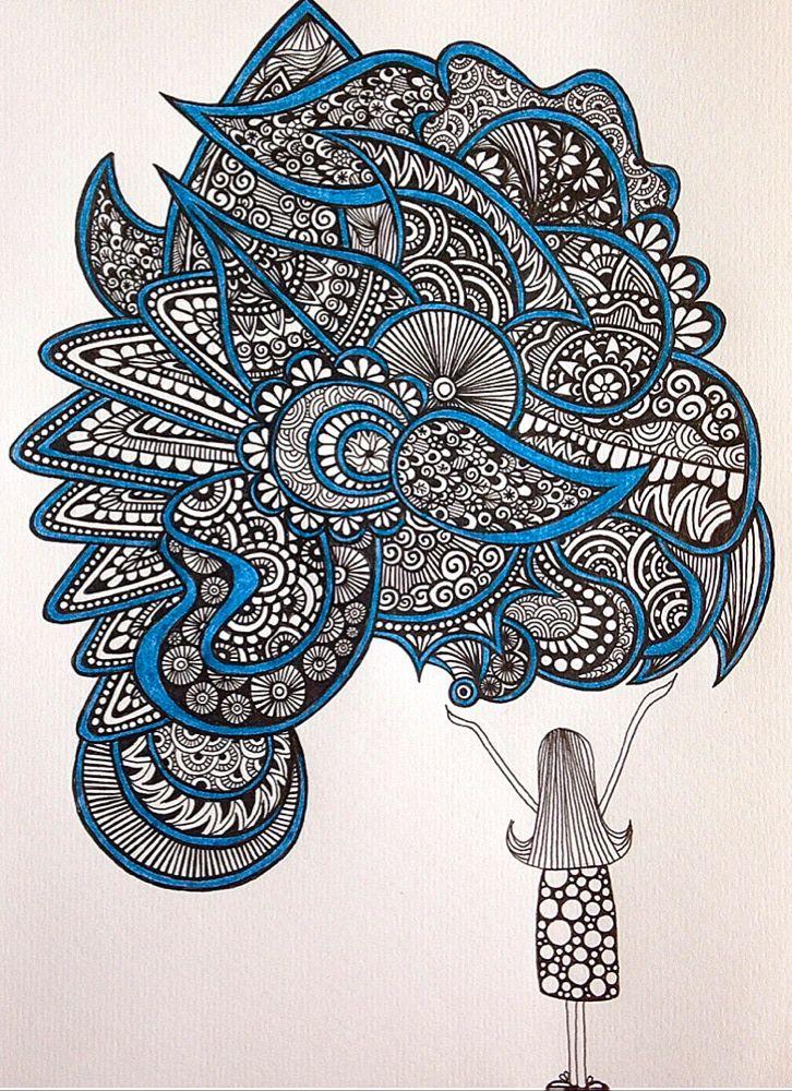 The girl by alevaki zentangle zendoodle mandala lineart doodleart sharpieart illustration - Decorative painting artists ...