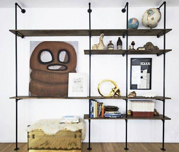 Readymade shelf, like the one in Haymarket...for Dan's room: Pipes Bookshelf, Idea, Living Rooms, Pipes Shelves, Wood Shelves, Dining Rooms Wall, Books Storage, Shelves United, Pipes Shelf