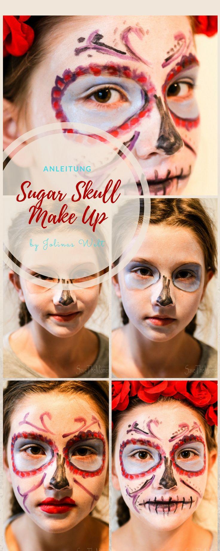 Anleitung für ein Sugar Skull Make up als Halloween Verkleidung - Halloween Schminke, der Zucker Totenkopf kommt aus Mexiko vom Dia de Muertos. Totenkopfschminke