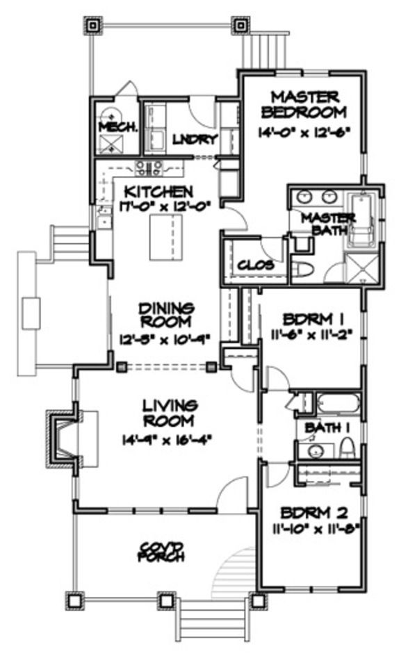Traditional Style House Plan 3 Beds 2 Baths 1717 Sq Ft Plan 497 42 House Plans Home Design Floor Plans Bungalow House Plans Traditional style house plan