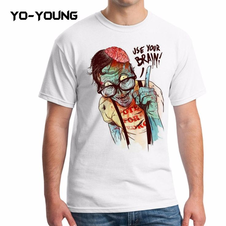 Yo-Young Men T Shirts Funny Zombie Ues Your Brain Design Funny T-shirts For Men Digital Printed 100% 180g Combed Cotton