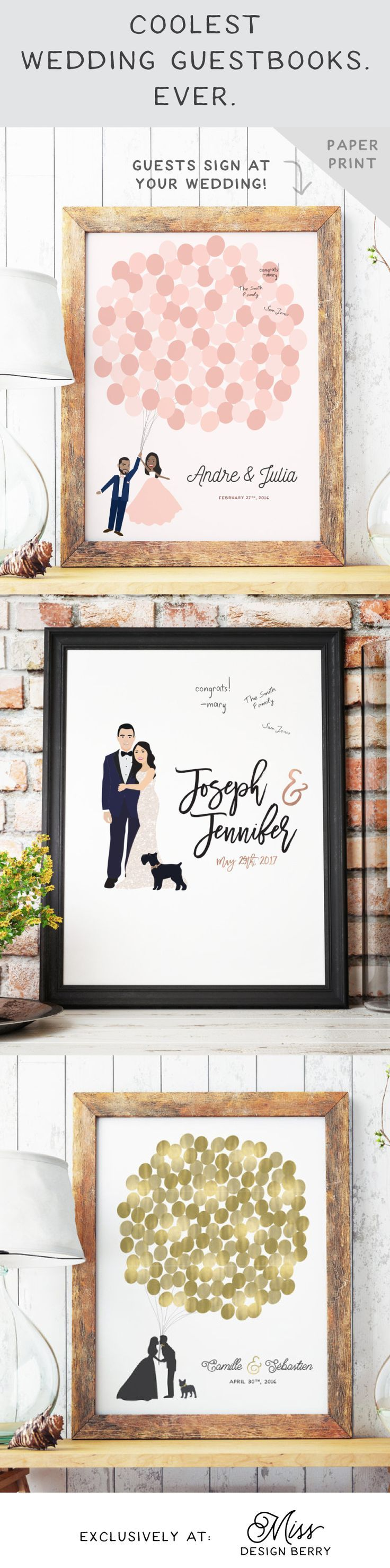 The coolest wedding guestbooks. Ever.   Shop now at Miss Design Berry. Rockwell Catering and Events