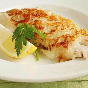 Potato crusted red snapper - Use snapper, cod, orange roughy, or any other white fish in this recipe. Thin, flat fillets work best. The potato crust is first browned over medium-high heat in a skillet, then the fish finishes cooking in a moderate oven to ensure that it stays moist.