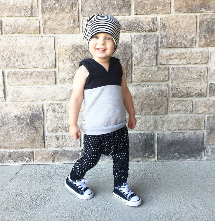 Reversible bamboo slouchy hat and pants by Lil Slouchies. Baby boy. Baby fashion