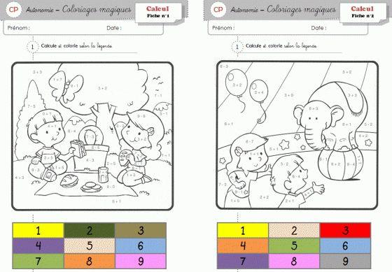 Coloriage magique, additions faciles. PDF à télécharger gratuitement