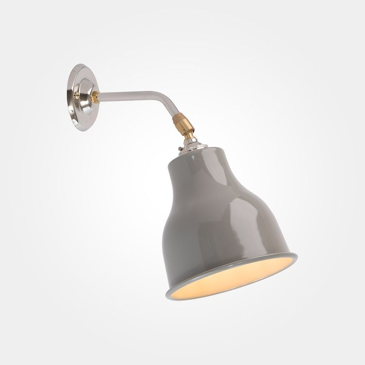 Simple Wall Light with Mid Grey shade from Artifact Lighting | The soft grey finish on this factory inspired shade is a nod to contemporary trends in interiors while the silver and brass wall bracket hints at industrial style.