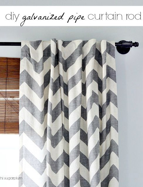 Hi Sugarplum | Using Galvanized Pipe to build an extra long curtain rod...without an industrial feel