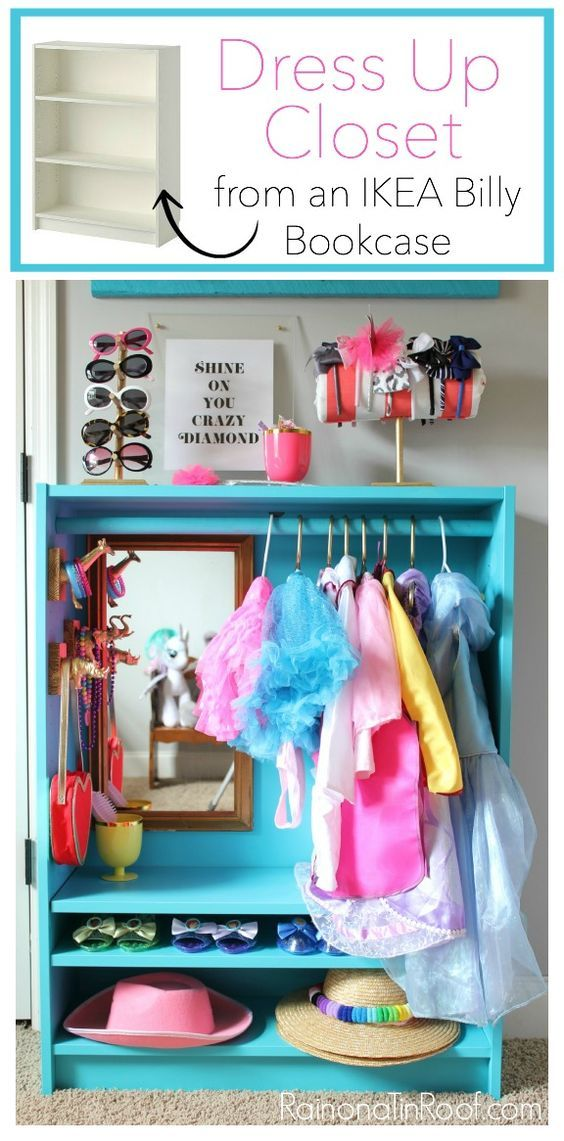 Adorable storage closet bookshelf for pretend play clothes and costumes. Play room organization DIY.