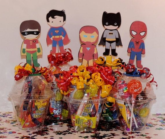 Super heroes party favors, keepsakes, captain america, iron man, spider man, batman, super man... on Etsy, $2.75