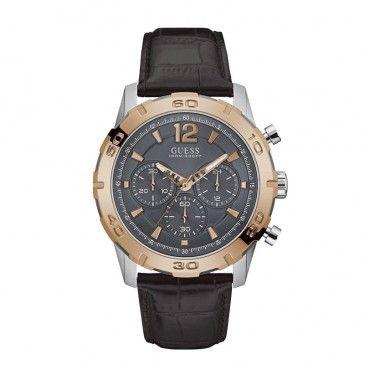W0864G1 Ανδρικό μοντέρνο ρολόι GUESS με χρονογράφο, γκρι καντράν και καφέ λουράκι από δέρμα | Ανδρικά ρολόγια GUESS ΤΣΑΛΔΑΡΗΣ στο Χαλάνδρι #Guess #καφε #χρονογραφος #λουρι #ρολοι