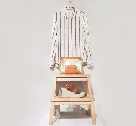 March 2014: Equipment Brett Shirt in White & Peach. A.P.C. Petite Metallic Pochette in Gold. A.P.C. Small Zip Wallet in Tan. A.P.C. Platform Sandals in Hazel.