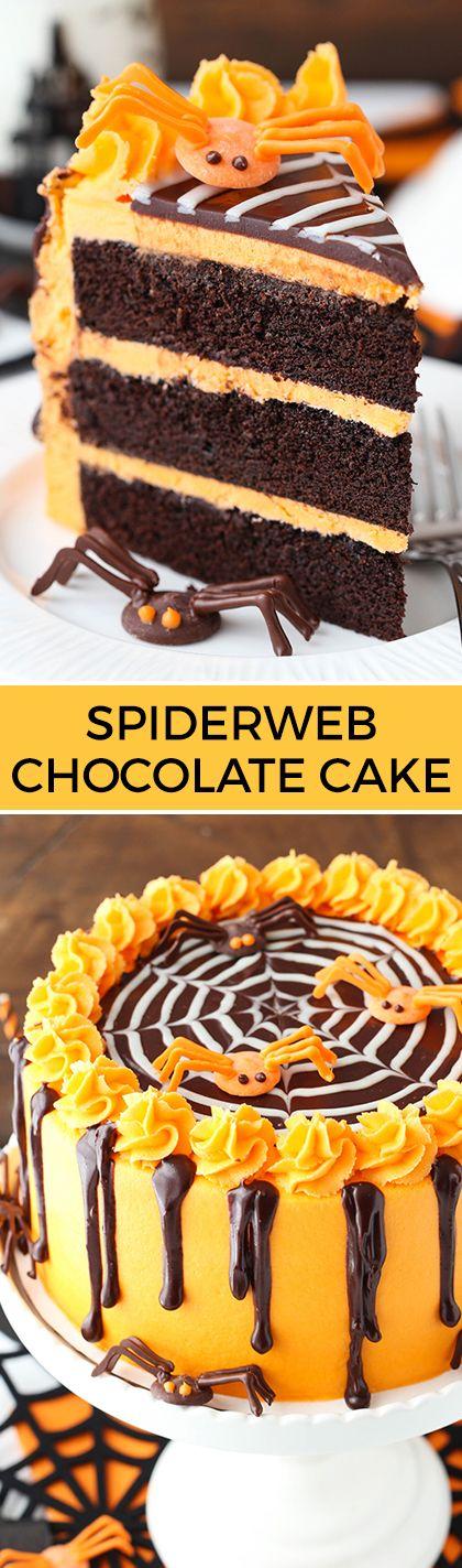 Spiderweb Chocolate Cake with Vanilla Frosting! So fun for Halloween! from lifeloveandsugar.com
