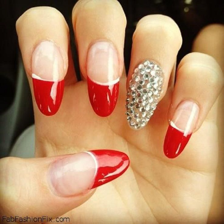 12 best red nails images on pinterest acrylic nails easy nail red french nails w rhinestones prinsesfo Choice Image