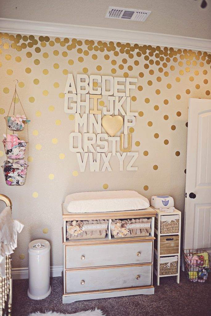 Girly Gold DIY Alphabet with Gold Polka Dot Accent Wall - looks so chic!