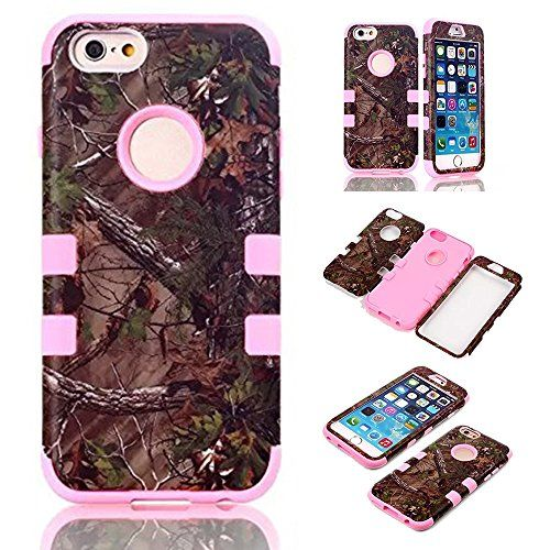 #iPhone 6s Plus Case Kecko Defender Tough Armor Tree Camo Leaves on the Core Design Dual Layer Shockproof High Impact Hunting Forest Hybrid Hard Protective Case Skin for iPhone 6 Plus (Pink)